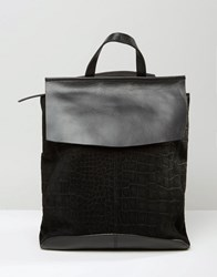Asos Leather And Suede Croc Embossed Backpack Black