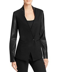 Aqua Ponte Faux Leather Blazer Black