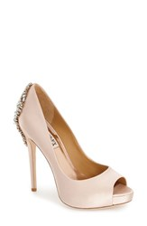 Women's Badgley Mischka 'Kiara' Crystal Back Open Toe Pump Blush Satin