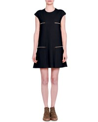 Stella Mccartney Short Sleeve Cady Dress W Zip Pockets Black Navy
