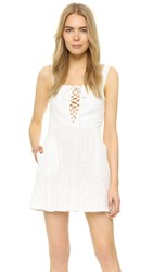Flynn Skye Leila Lace Up Mini Dress White Eyelet