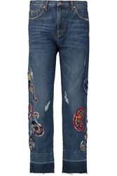 Msgm Embellished Cropped High Rise Jeans Mid Denim