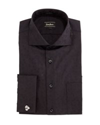 Neiman Marcus Classic Fit Jacquard Dress Shirt Black
