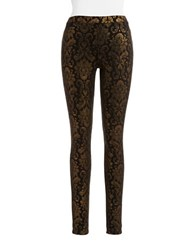 Hue Metallic Baroque Leggings Gold Black