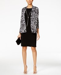 Jessica Howard Necklace Dress And Printed Jacket Black White