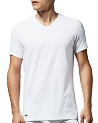 Lacoste Stretch Cotton V Neck Tee Pack Of 2 White
