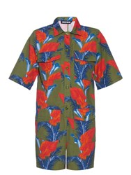 House Of Holland Cotton Barkcloth Tropical Floral Print Playsuit Khaki