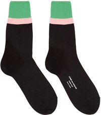 Comme Des Garcons Black Striped Cuff Socks