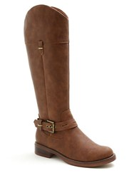 Kensie Stefanie Faux Leather Riding Boots Brown
