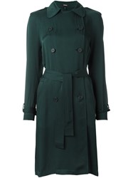 Theory Silk Trench Coat Green