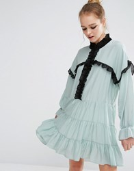 Sister Jane Ruffle Detail Smock Dress Blue
