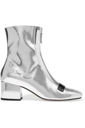 Dorateymur Double Delta Mirrored Leather Ankle Boots Silver