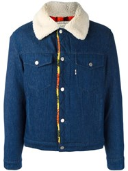 Maison Kitsune Sherpa Lined Denim Jacket Blue