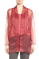Women's Eileen Fisher Long Silk Organza Kimono Jacket Rosewood