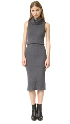 Alice Olivia Arra Sleeveless Ribbed Turtleneck Dress Charcoal