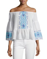 Nightcap Clothing Santori Off The Shoulder Embroidered Top White Women's