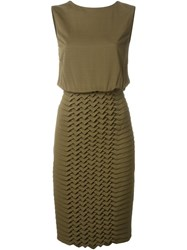 Jay Ahr Origami Panel Dress Green