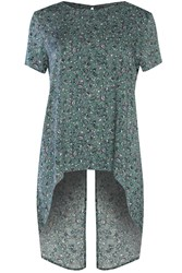 Alice And You Short Sleeve Printed Split Back Top Green