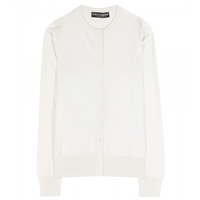 Dolce And Gabbana Silk Cardigan Natural White