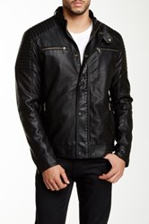 Px Mock Collar Faux Leather Jacket Black