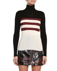 Emilio Pucci Colorblock Triple Striped Turtleneck Sweater