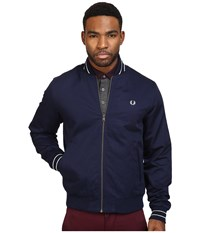 Fred Perry Cotton Bomber Jacket Carbon Blue Men's Coat Navy