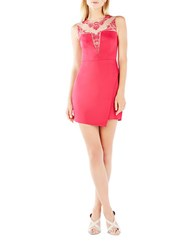 Bcbgmaxazria Kinsley Lace Accented Asymmetrical Dress Turkish Rose