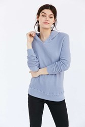Truly Madly Deeply Elbow Patch Hoodie Sweatshirt Blue