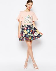 Love Moschino Hippie Skater Skirt Blue