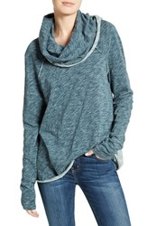 Free People Women's 'Beach Cocoon' Cowl Neck Pullover Turquoise