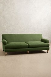 Anthropologie Linen Willoughby Sofa Wilcox Kelly Green