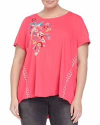 Jwla Shevaun Draped Floral Embroidered Tee Fuchsia