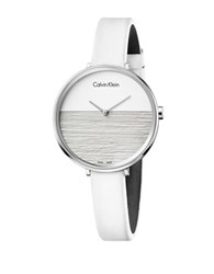 Calvin Klein Stainless Steel Leather Strap Watch White Leather