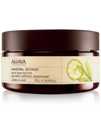 Ahava Mineral Botanic Rich Body Butter Lemon And Sage No Color