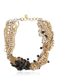 Maria Zureta Black Beaded Multi Chain Necklace