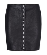 Versus By Versace Lion Button Leather Mini Skirt Black