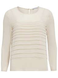 Gina Bacconi Pleated Front Chiffon Top Butter Cream