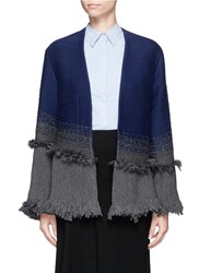 Xu Zhi Braided Ombre Frayed Trim Coat Cashmere Multi Colour