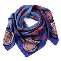 Siladora Purple Weaving Silk Scarf Blue Pink Purple