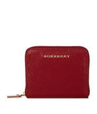 Burberry Patent London Leather Zip Around Wallet Red
