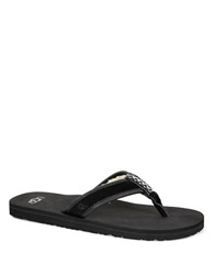 Ugg Borrego Suede Faux Fur Lined Thong Sandals Black