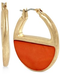 Kenneth Cole New York Color Block Shell Inspired Hoop Earrings Coral