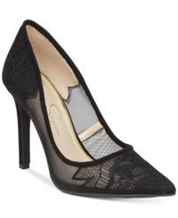 Jessica Simpson Camba Lace Pointed Toe Pumps Women's Shoes Black Embroidered Mesh