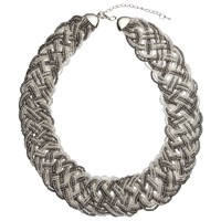 John Lewis Seed Bead Plaited Necklace Silver Clear