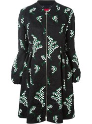 Moncler Gamme Rouge Floral Embroidered Jacquard Puff Sleeve Oversized Coat Black