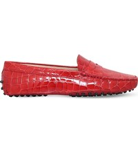 Tod's Mocassino Crocodile Effect Patent Leather Loafers Orange
