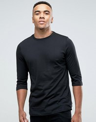 New Look Top With 3 4 Length Sleeves And Curved Hem In Black Black