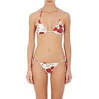 Dolce And Gabbana Women's Floral Halter Bikini Top Red White Red White