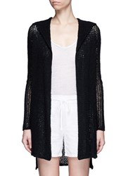 James Perse Cotton Linen High Gauge Knit Hood Cardigan Black