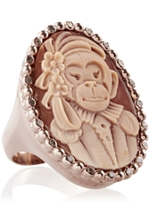 Amedeo Rose Gold Plated Carnelian Shell And Diamond Monkey Cameo Ring